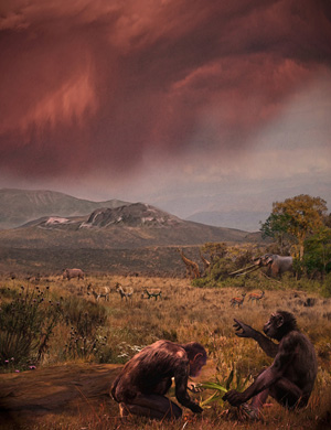 Graecopithecus freybergi, nicknamed El Graeco, lived 7.2 million years ago in the dust-laden savannah of the Athens Basin. View from El Graeco's place of discovery, Pyrgos Vassilissis, to the southeast over the plain of Athens and under a reddish cloud of Sahara dust; in the background: Mount Hymettos and Mount Lykabettos; The restored mammal species are determined in the locality as well as in Azmaka locality after fossils: the mastodont Anancus sp. the rhino Ceratotherium sp., hipparions, the giraffid Bohlinia, gazellas). (c) Velizar Simeonovski (Chicago) according to scientific instructions of Nikolai Spassov and Madelaine Böhme